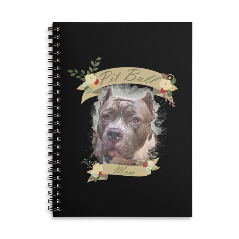 Pit Bull Mom 2 Accessories Lined Spiral Notebook by Andy's Paw Prints Shop