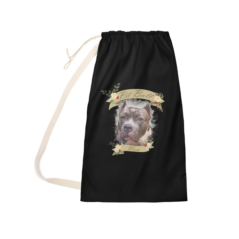 Pit Bull Mom 2 Accessories Laundry Bag Bag by Andy's Paw Prints Shop