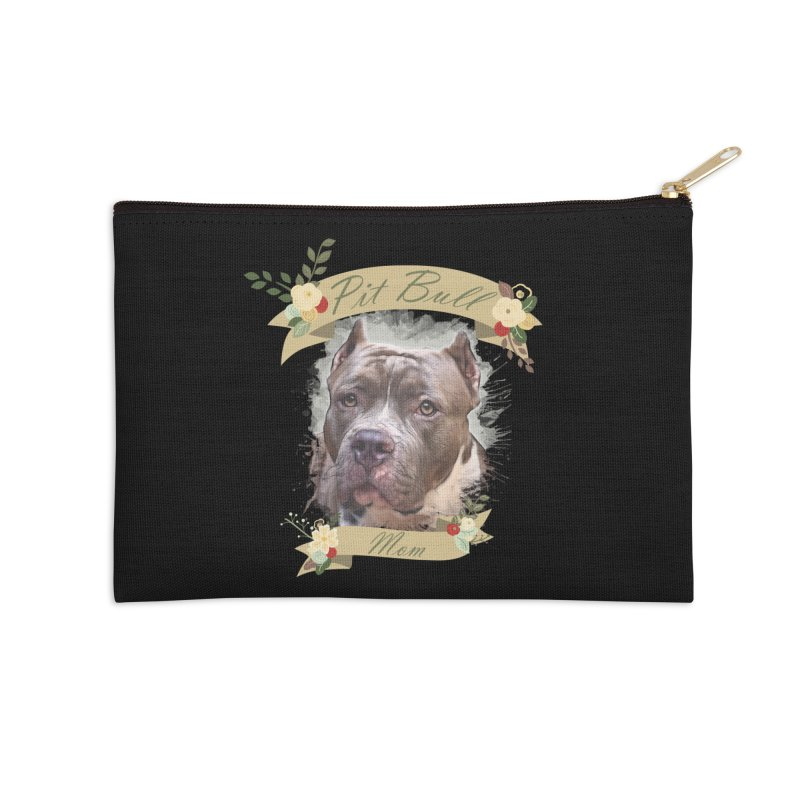 Pit Bull Mom 2 Accessories Zip Pouch by Andy's Paw Prints Shop
