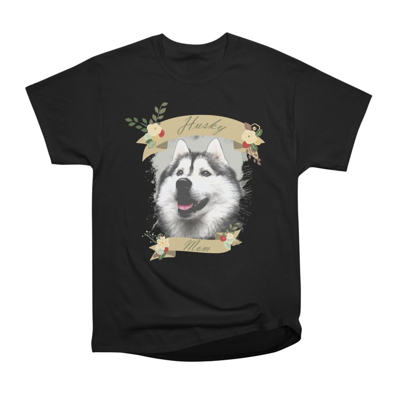 Husky Mom Women's Heavyweight Unisex T-Shirt by Andy's Paw Prints Shop