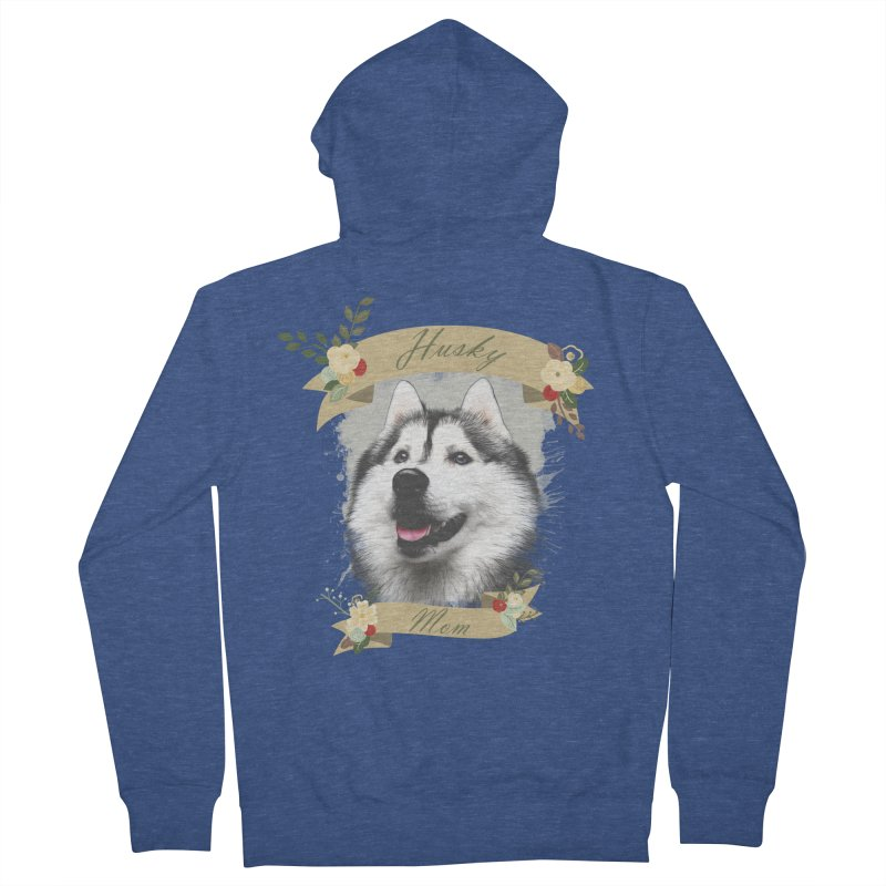 Husky Mom Men's French Terry Zip-Up Hoody by Andy's Paw Prints Shop