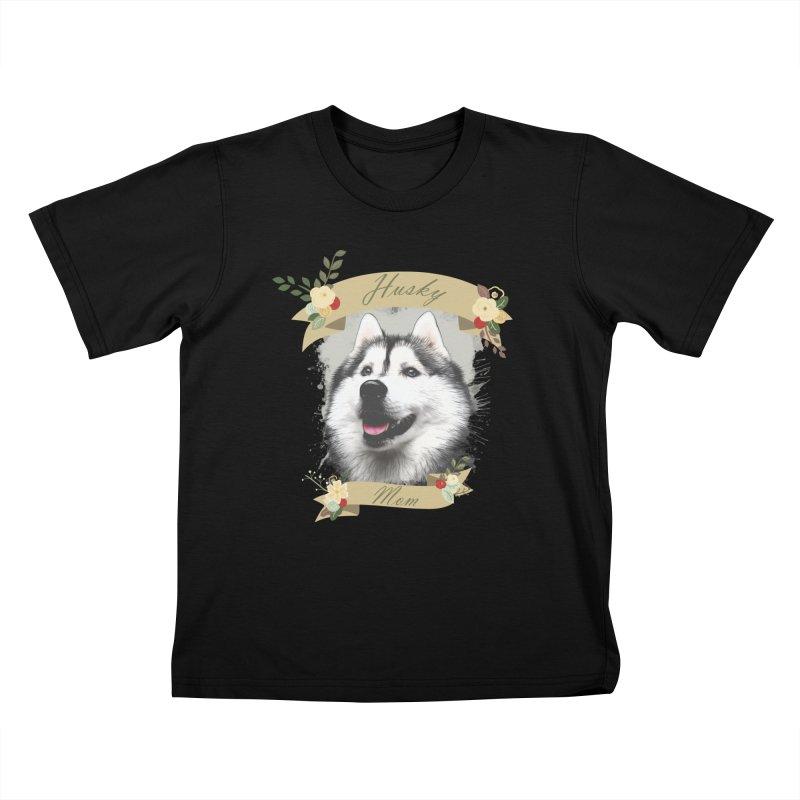 Husky Mom Kids T-Shirt by Andy's Paw Prints Shop