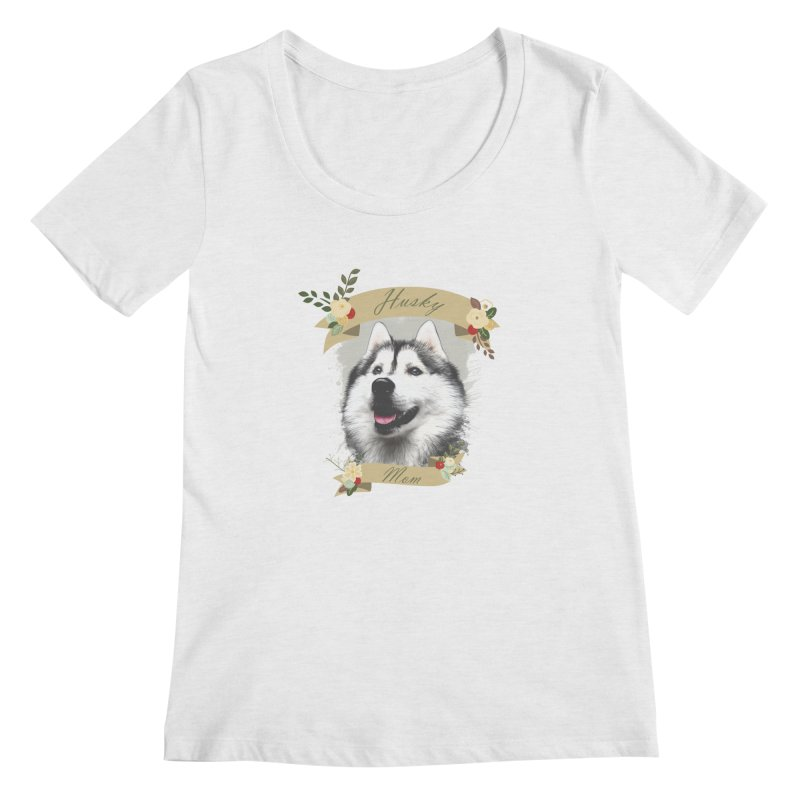 Husky Mom Women's Regular Scoop Neck by Andy's Paw Prints Shop