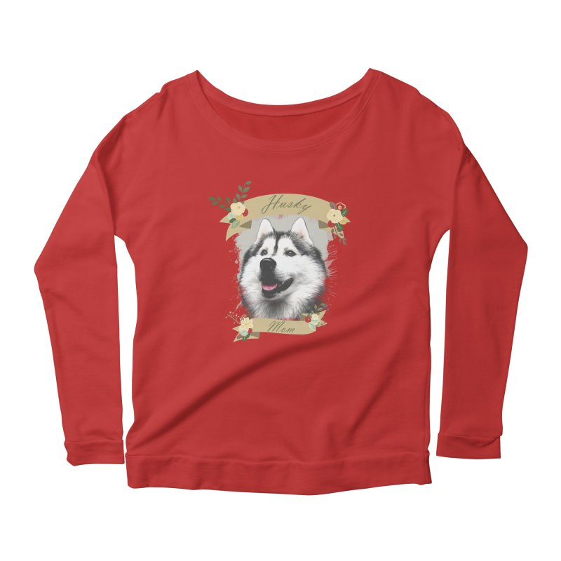 Husky Mom Women's Scoop Neck Longsleeve T-Shirt by Andy's Paw Prints Shop