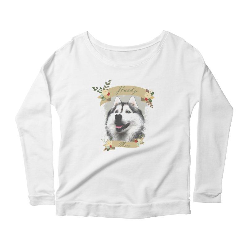 Husky Mom Women's Scoop Neck Longsleeve T-Shirt by Andy's Paw Prints Shop
