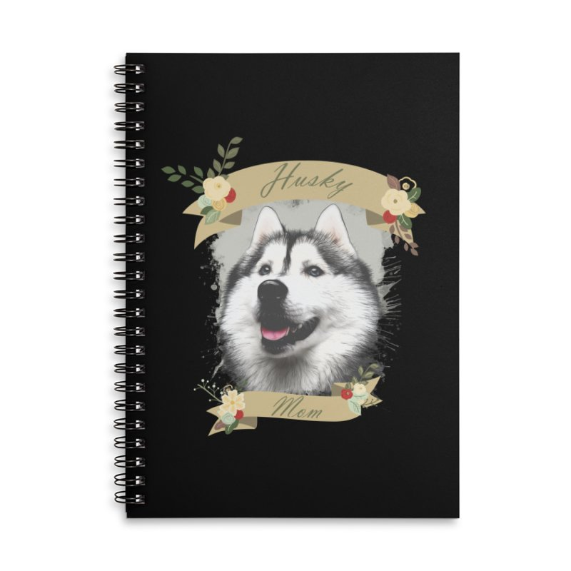 Husky Mom Accessories Lined Spiral Notebook by Andy's Paw Prints Shop