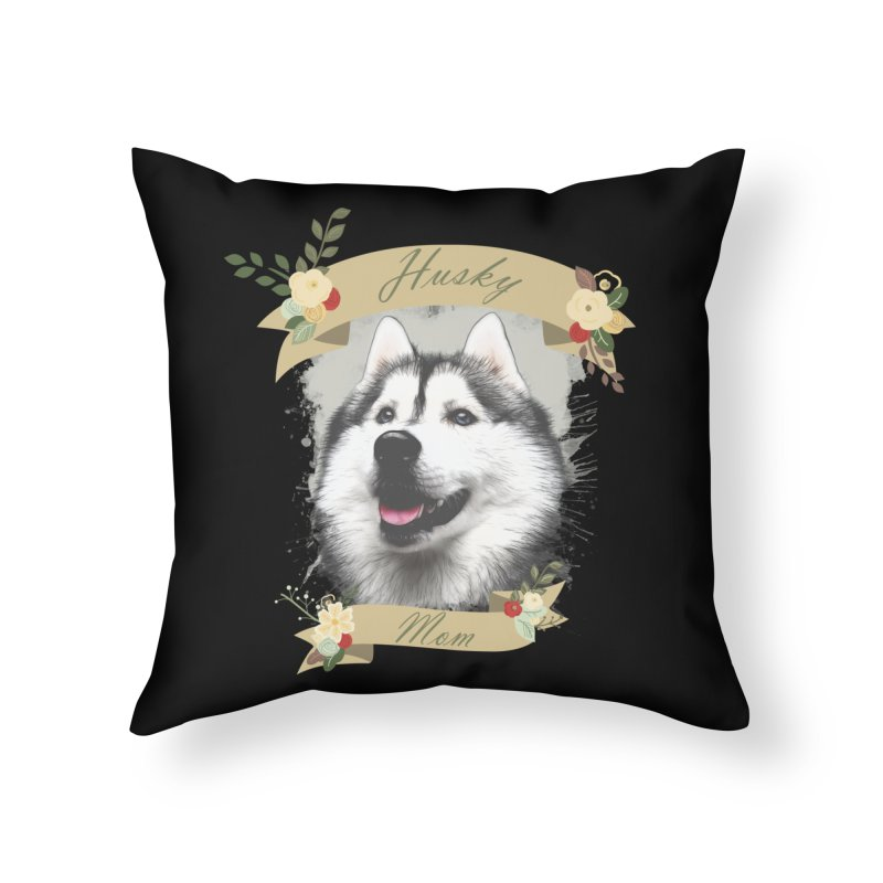 Husky Mom Home Throw Pillow by Andy's Paw Prints Shop