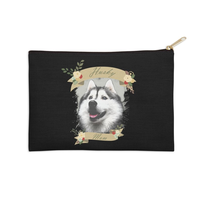 Husky Mom Accessories Zip Pouch by Andy's Paw Prints Shop