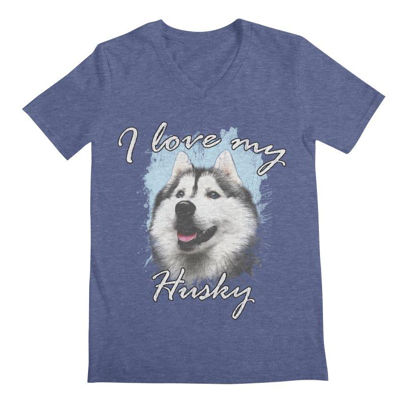I love my Husky Men's Regular V-Neck by Andy's Paw Prints Shop