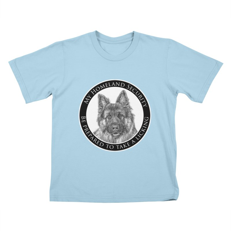 Homeland security licking Kids T-Shirt by Andy's Paw Prints Shop