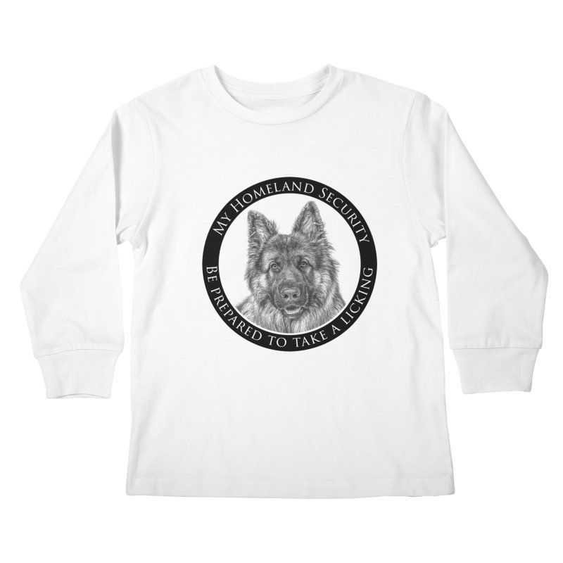 Homeland security licking Kids Longsleeve T-Shirt by Andy's Paw Prints Shop