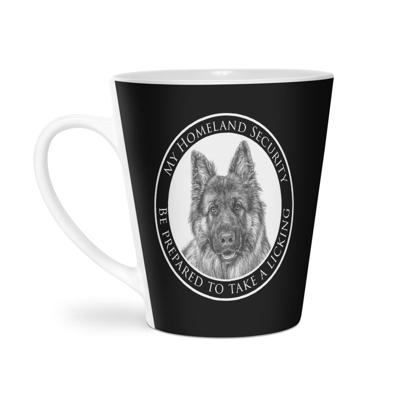 Homeland security licking Accessories Latte Mug by Andy's Paw Prints Shop