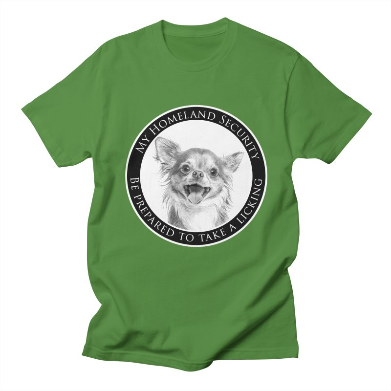 Homeland security Chihuahua Men's Regular T-Shirt by Andy's Paw Prints Shop