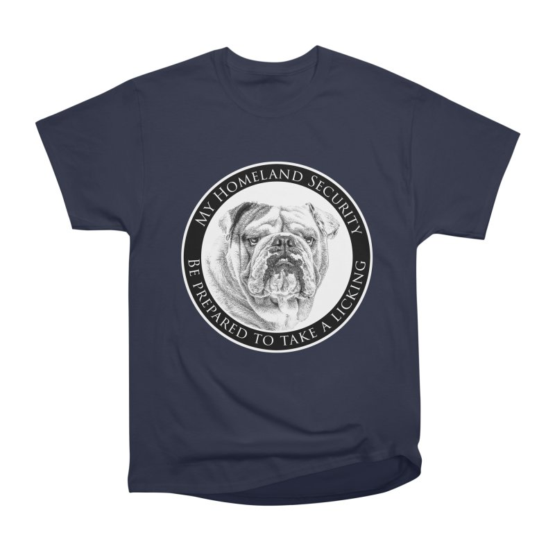 Homeland security Bulldog Men's Heavyweight T-Shirt by Andy's Paw Prints Shop