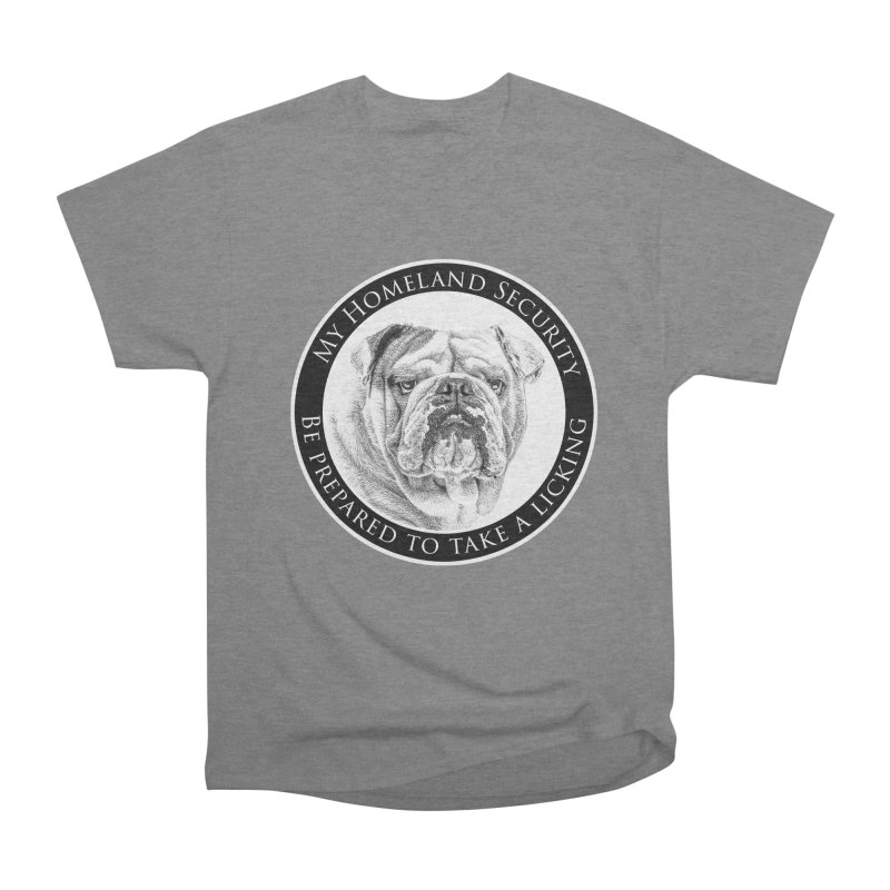 Homeland security Bulldog Men's Heavyweight T-Shirt by Andy's Paw Prints Shop