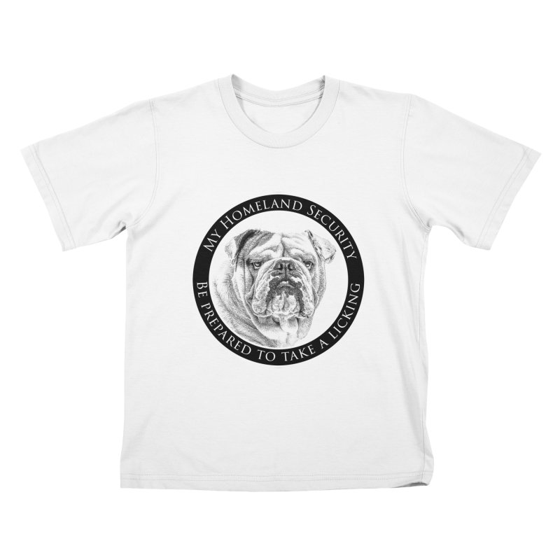 Homeland security Bulldog Kids T-Shirt by Andy's Paw Prints Shop