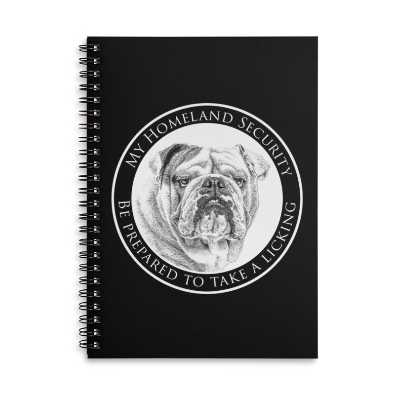 Homeland security Bulldog Accessories Lined Spiral Notebook by Andy's Paw Prints Shop