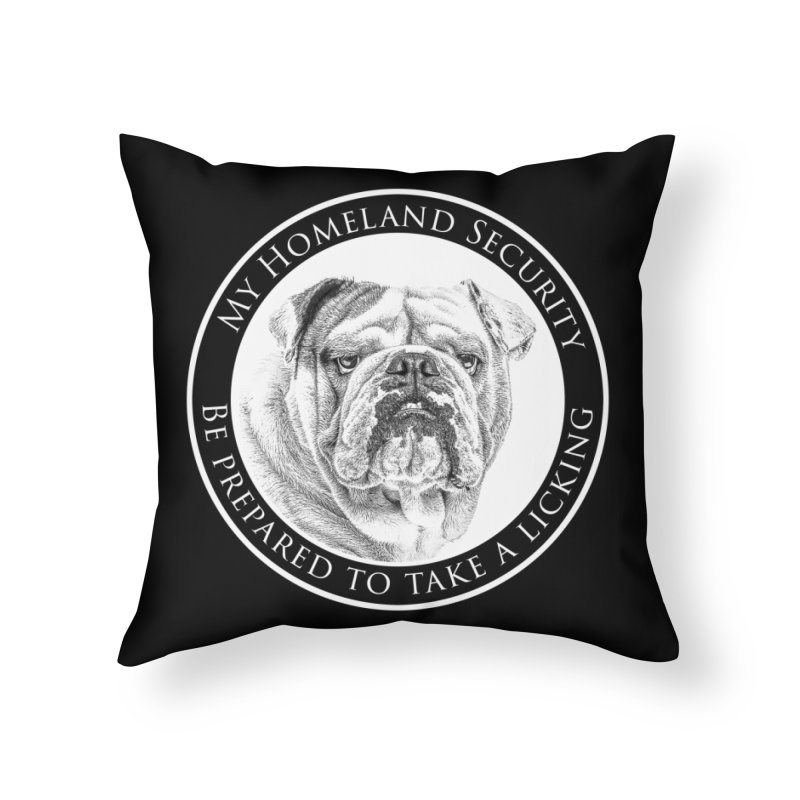 Homeland security Bulldog Home Throw Pillow by Andy's Paw Prints Shop