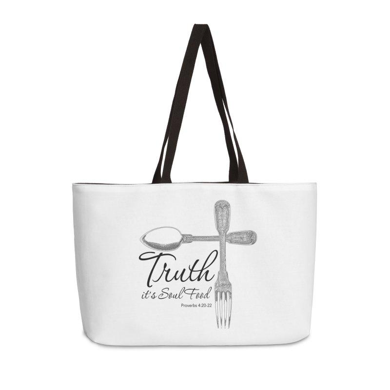 Truth it's soul food Dark Accessories Weekender Bag Bag by Andy's Paw Prints Shop