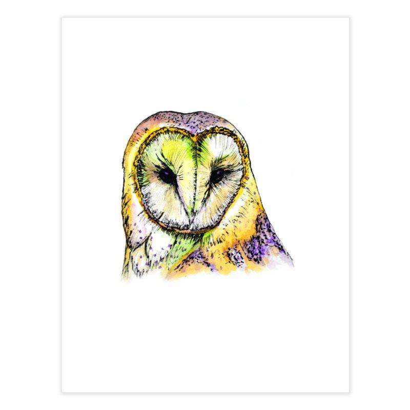 Rainbow Barn Owl Home Fine Art Print by Angerine's Artist Shop