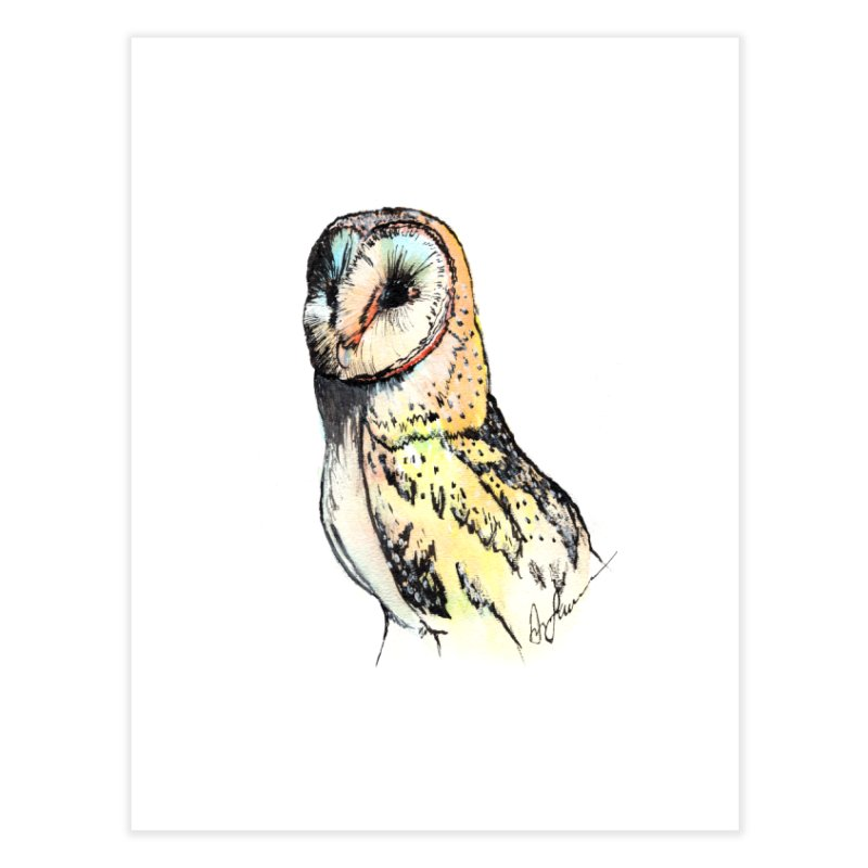 Barn Owl Profile Home Fine Art Print by Angerine's Artist Shop