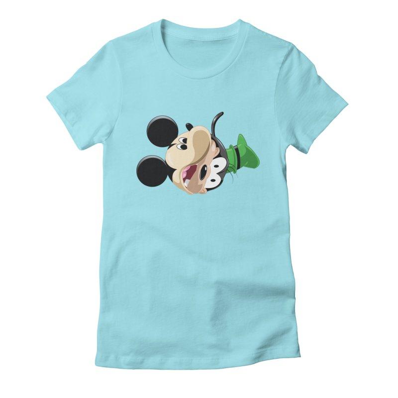 Mickey Goofy Yin Yang Women's Fitted T-Shirt by AnimatedTdot's Artist Shop