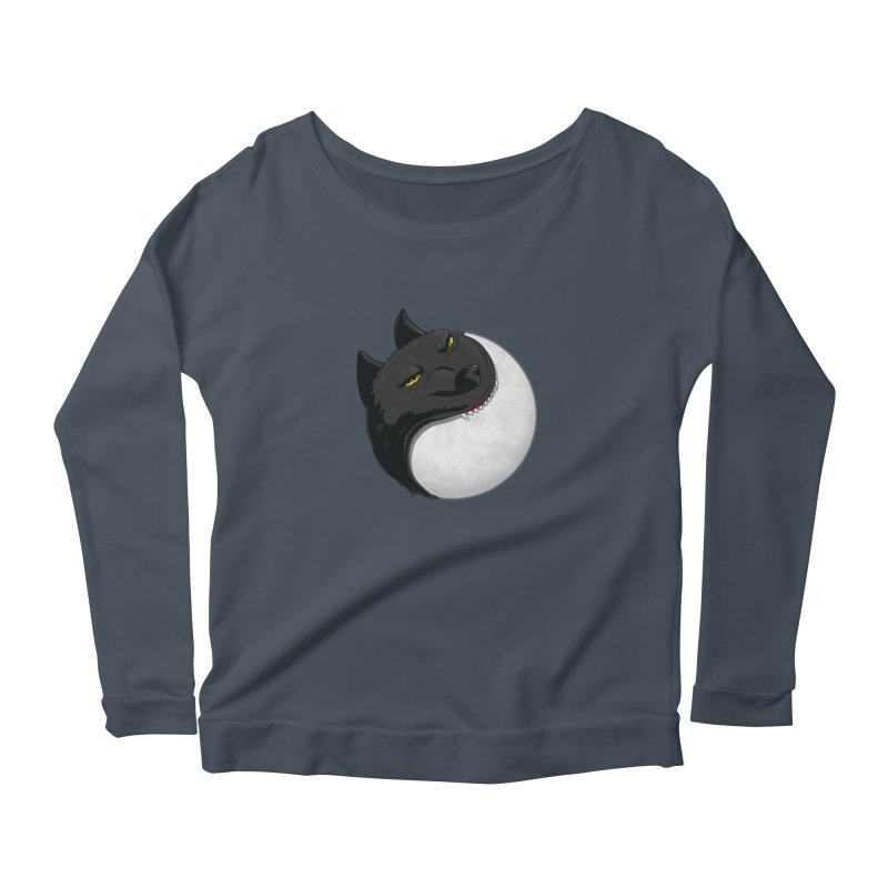 Full Moon Yin Yang Women's Scoop Neck Longsleeve T-Shirt by AnimatedTdot's Artist Shop