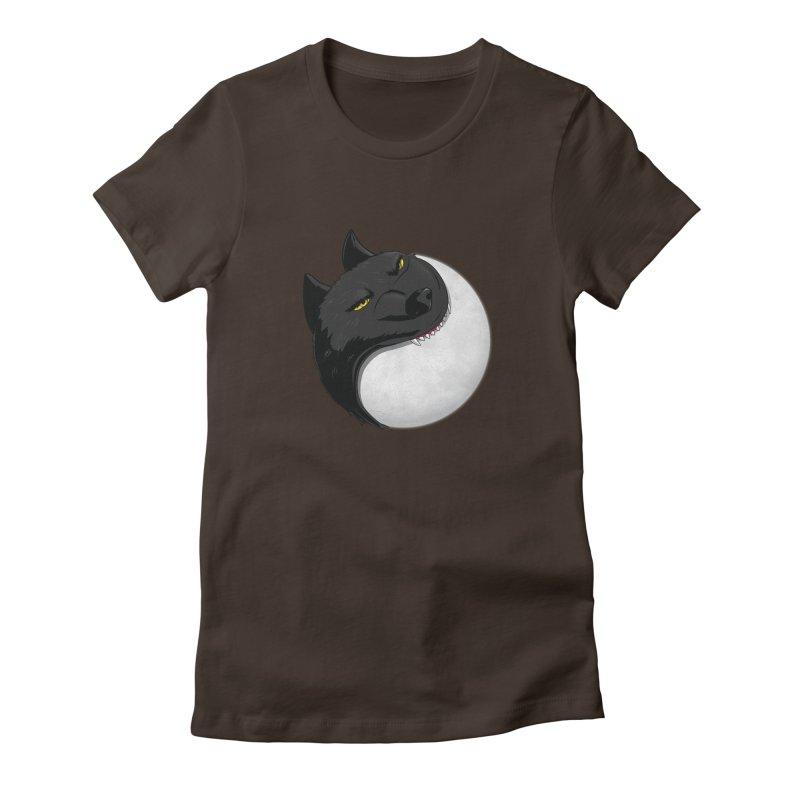 Full Moon Yin Yang Women's Fitted T-Shirt by AnimatedTdot's Artist Shop