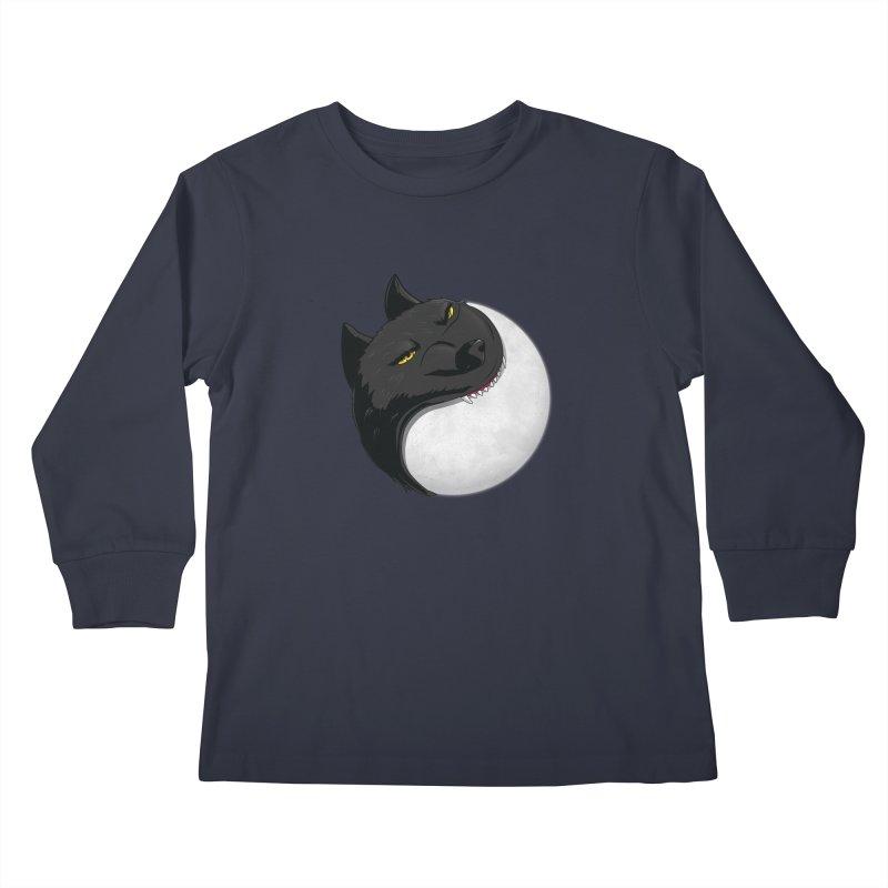 Full Moon Yin Yang Kids Longsleeve T-Shirt by AnimatedTdot's Artist Shop