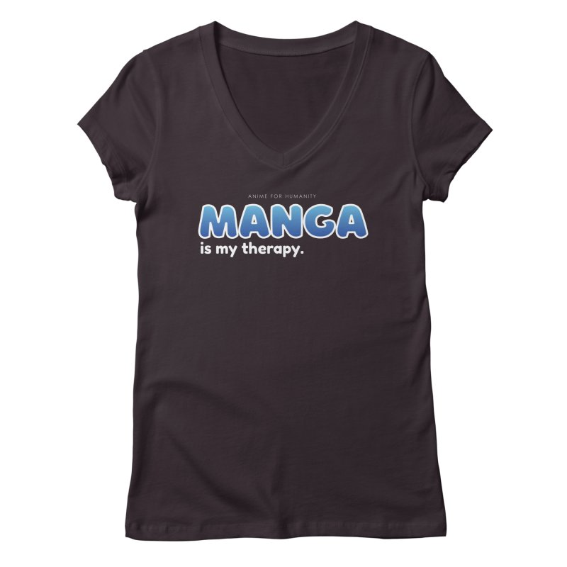 Manga is my Therapy (blue) Women's V-Neck by AnimeForHumanity's Shop