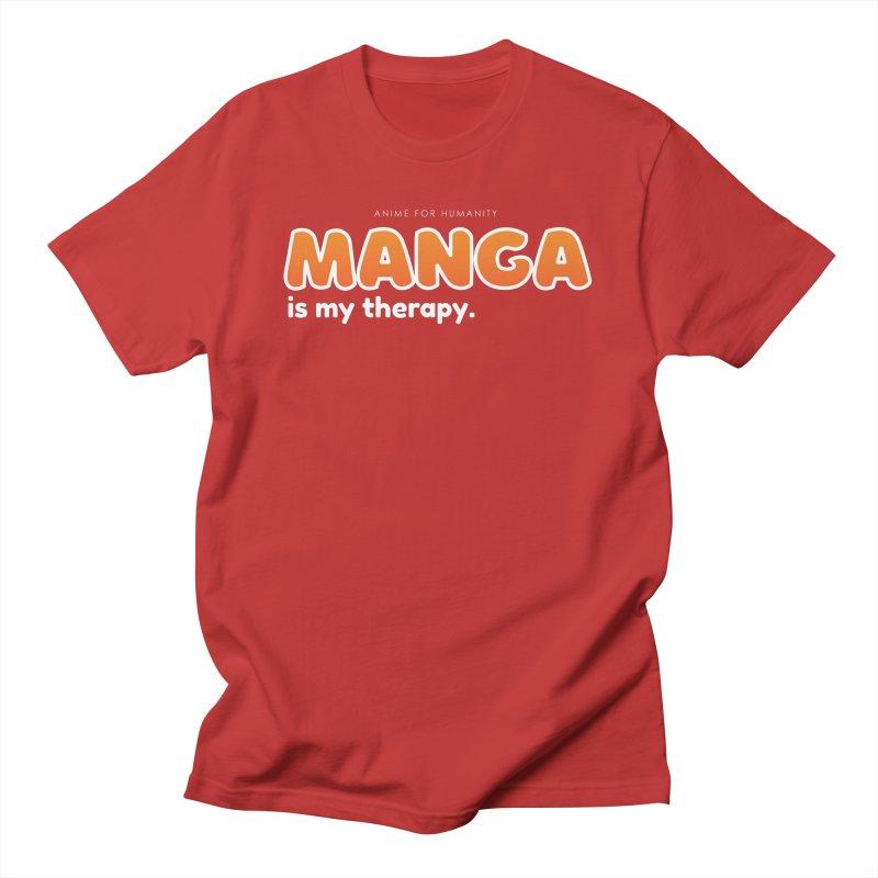 Manga is my Therapy (orange) Men's T-Shirt by AnimeForHumanity's Shop