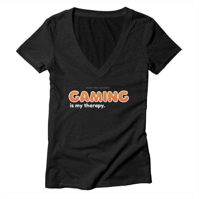 Gaming is my Therapy (orange) Women's V-Neck by AnimeForHumanity's Shop