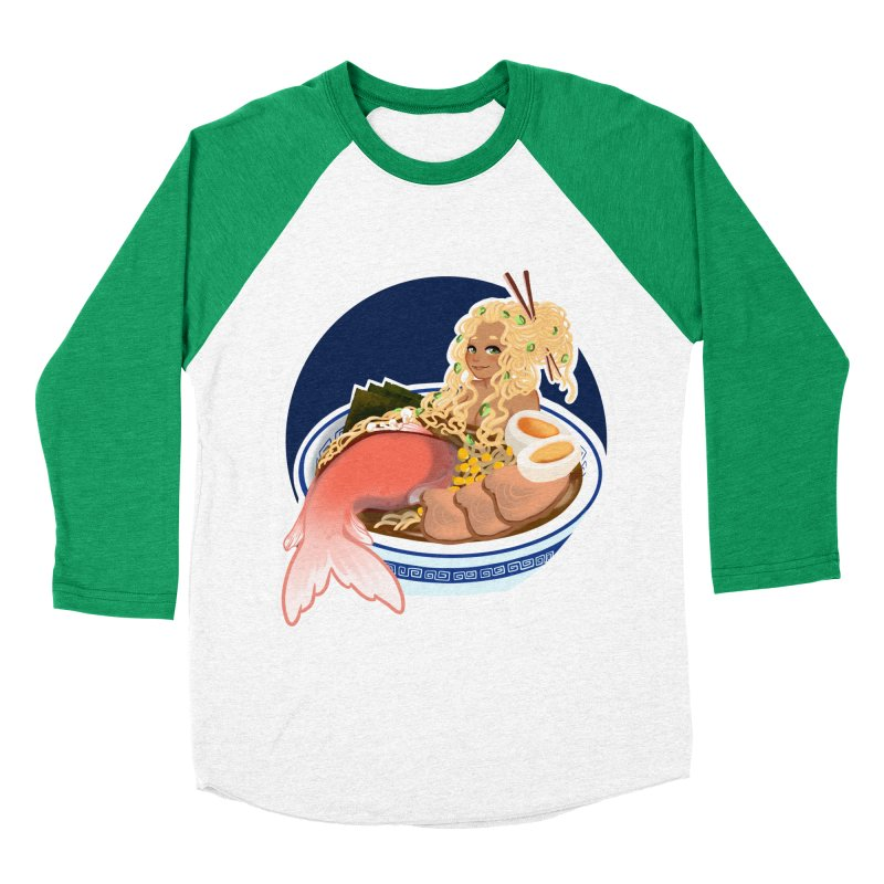 Ramen mermaid Men's Baseball Triblend Longsleeve T-Shirt by AnimeGravy