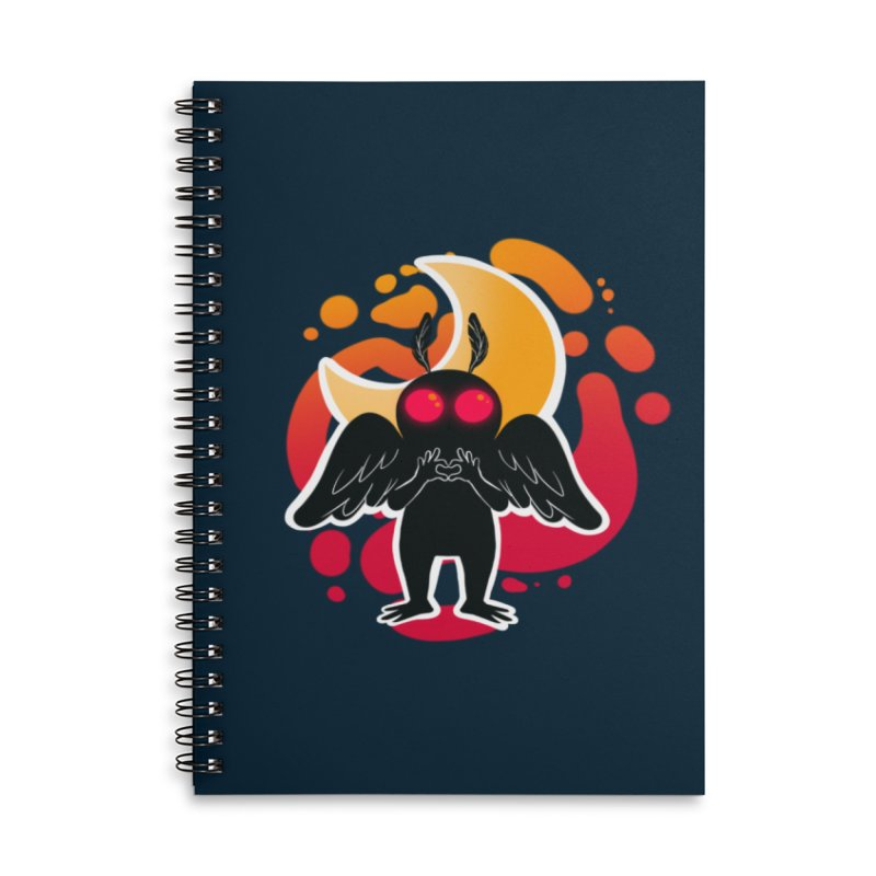 Mothman sends his love Accessories Lined Spiral Notebook by AnimeGravy