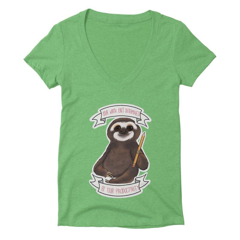 Sloth Women's Deep V-Neck V-Neck by AnimeGravy