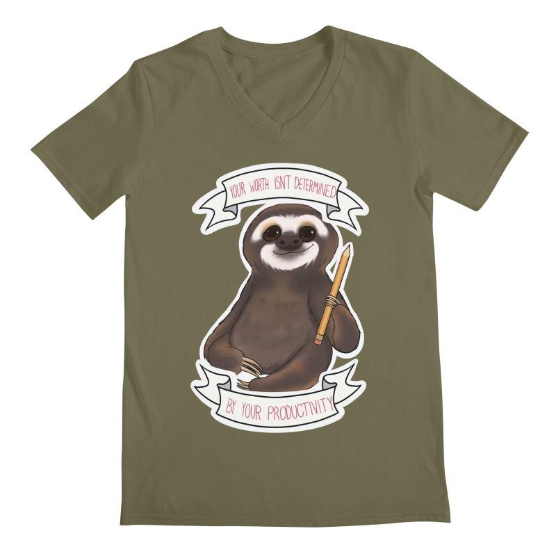 Sloth Men's Regular V-Neck by AnimeGravy