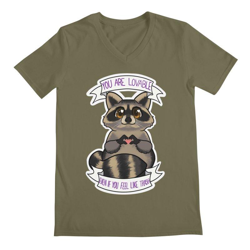 Raccoon Men's Regular V-Neck by AnimeGravy