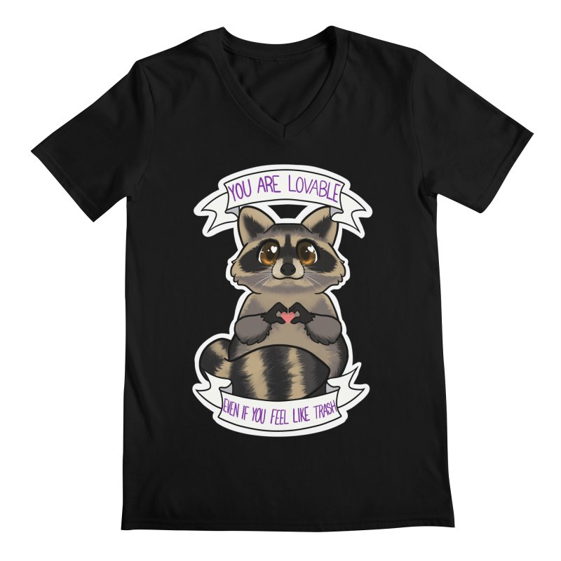 Raccoon Men's V-Neck by AnimeGravy