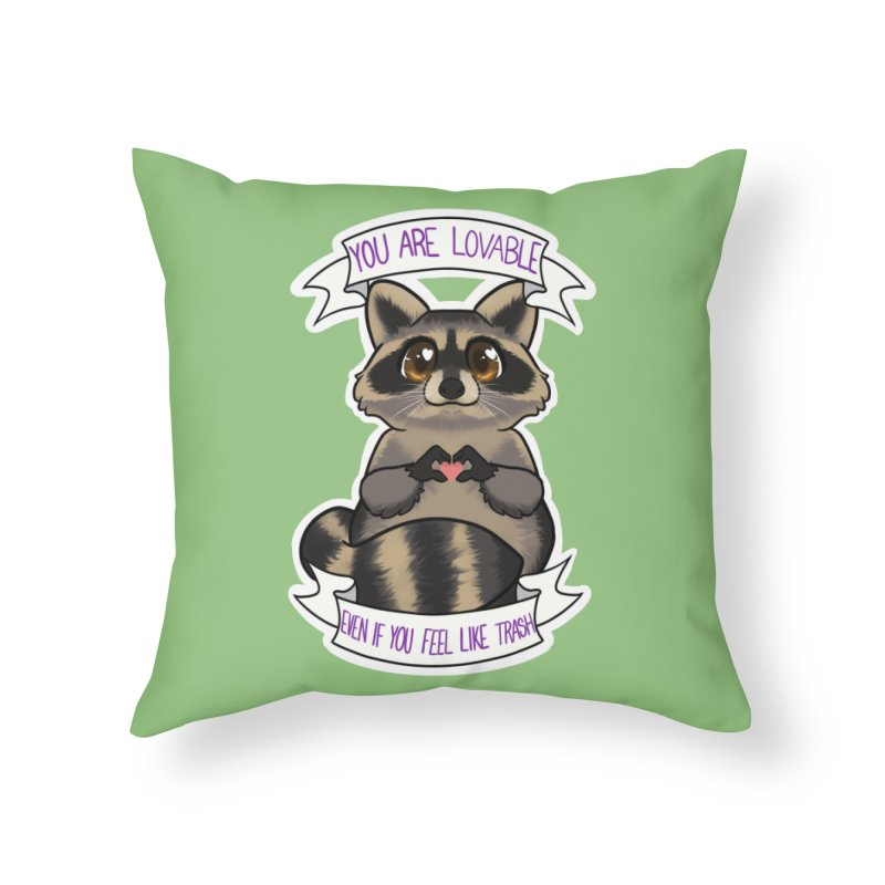 Raccoon Home Throw Pillow by AnimeGravy