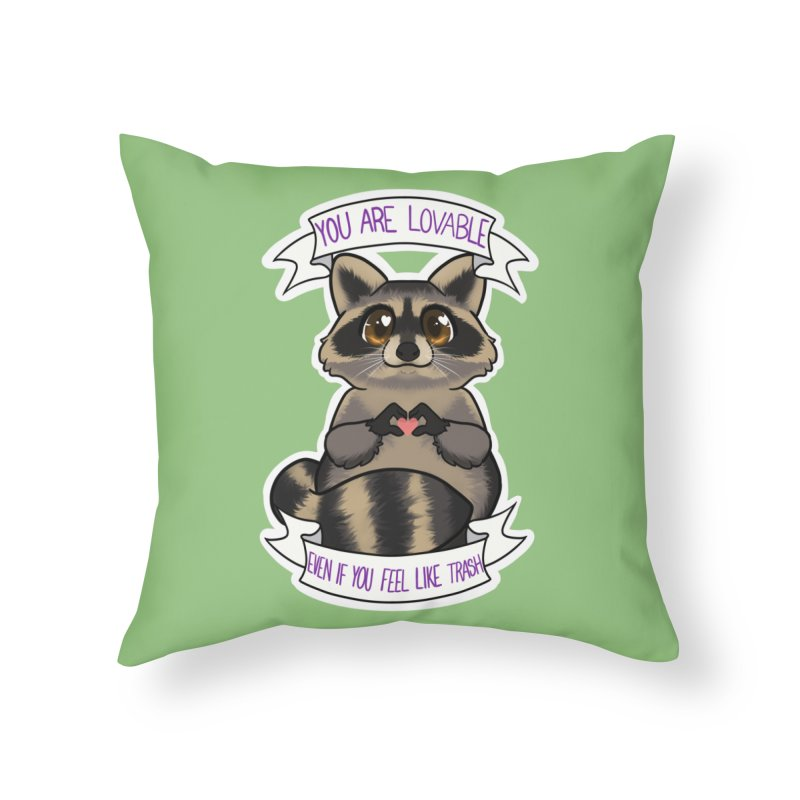 Raccoon Home Throw Pillow by AnimeGravy