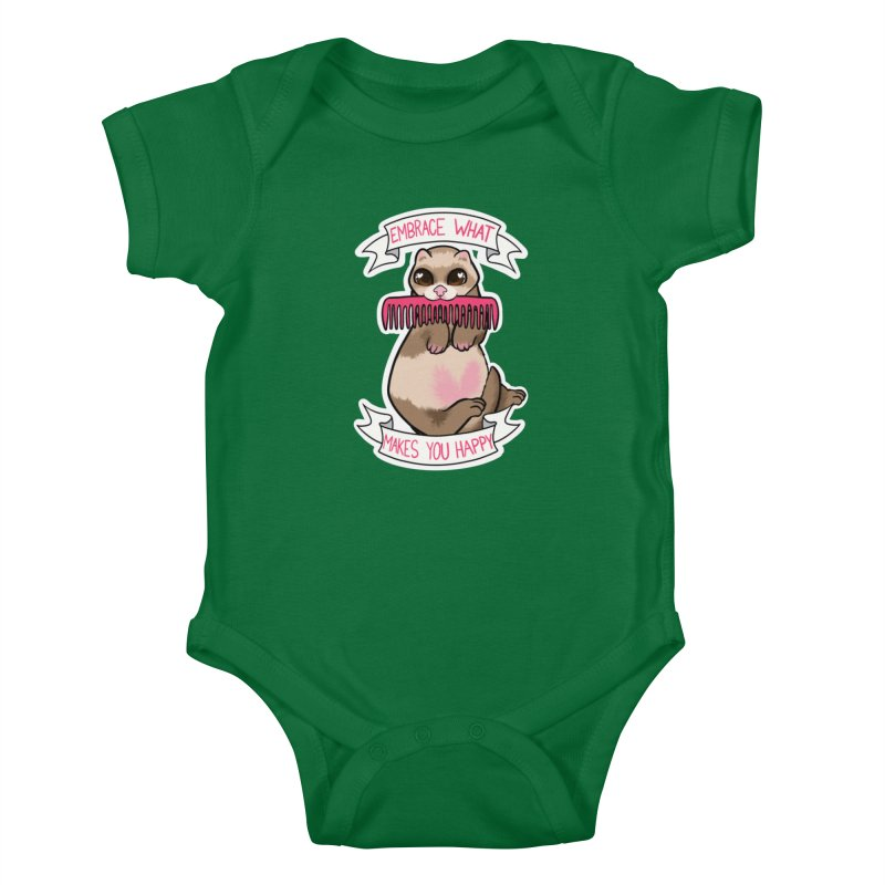 Embrace what makes you happy ferret Kids Baby Bodysuit by AnimeGravy