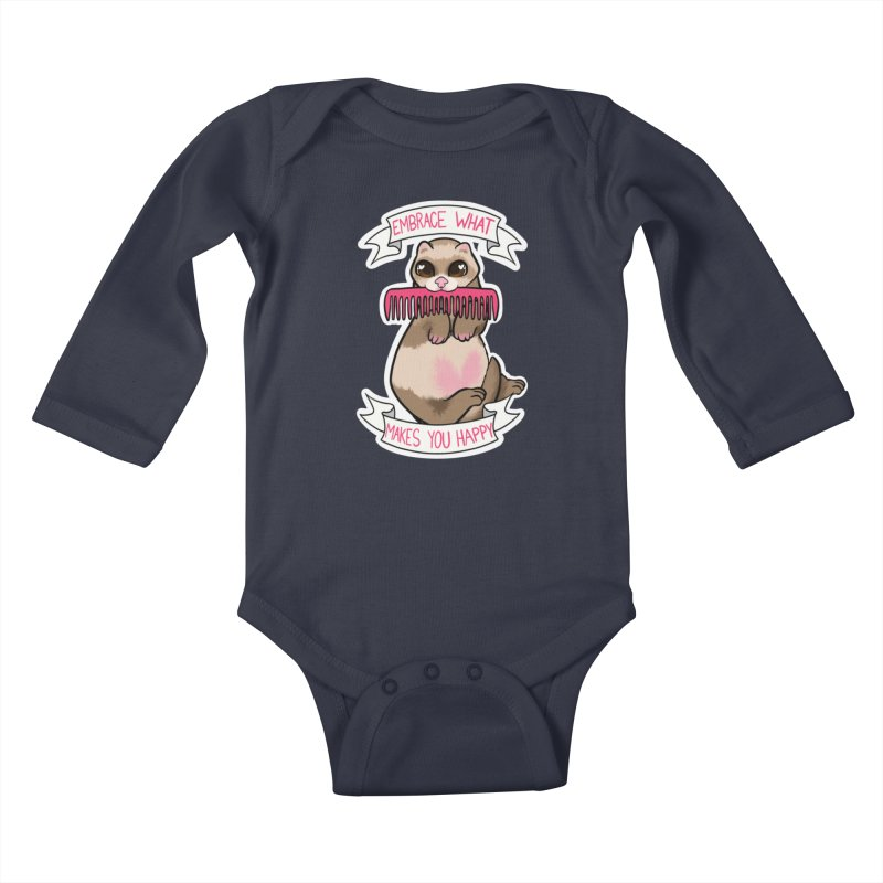 Embrace what makes you happy ferret Kids Baby Longsleeve Bodysuit by AnimeGravy