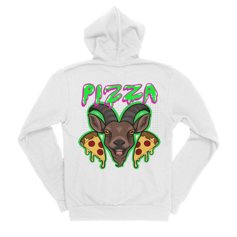Pizza goat Men's Sponge Fleece Zip-Up Hoody by AnimeGravy