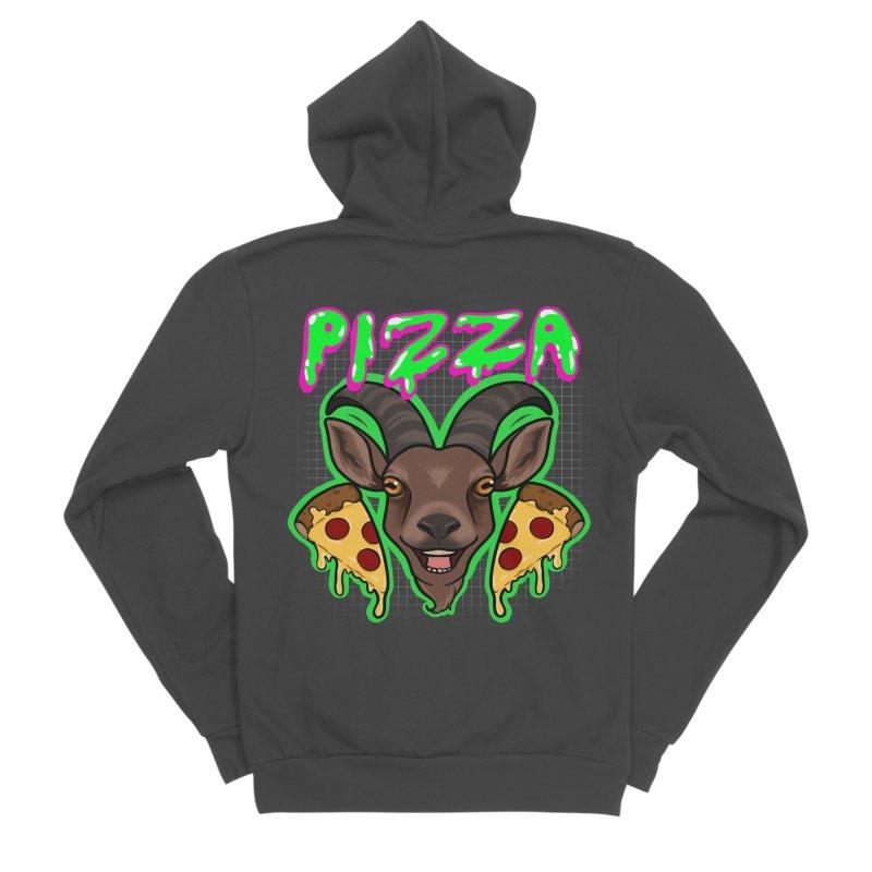 Pizza goat Men's Sponge Fleece Zip-Up Hoody by Animegravy's Artist Shop