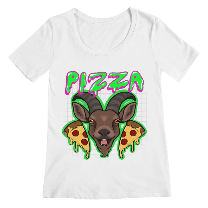 Pizza goat Women's Regular Scoop Neck by AnimeGravy