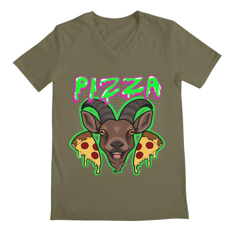Pizza goat Men's Regular V-Neck by Animegravy's Artist Shop