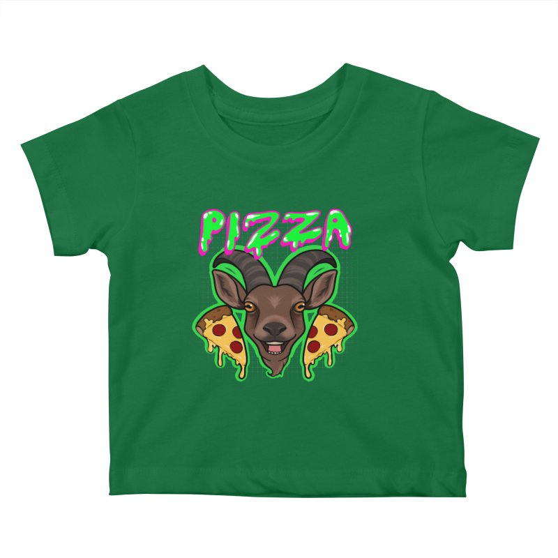 Pizza goat Kids Baby T-Shirt by AnimeGravy