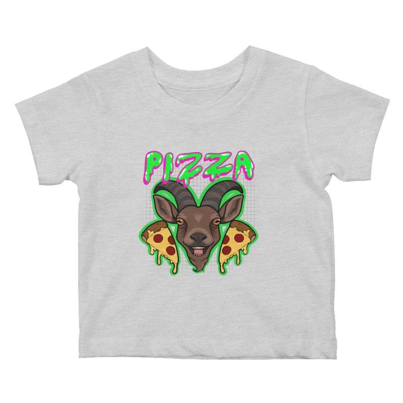 Pizza goat Kids Baby T-Shirt by AnimeGravy