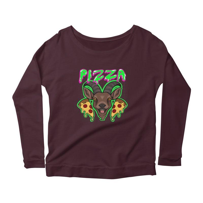 Pizza goat Women's Scoop Neck Longsleeve T-Shirt by Animegravy's Artist Shop