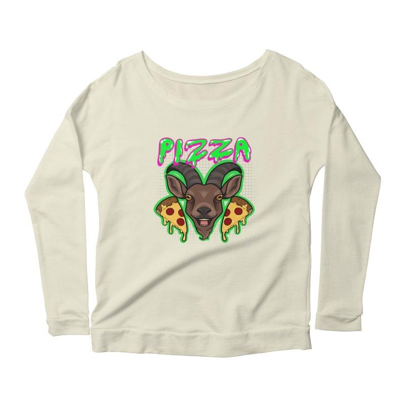 Pizza goat Women's Scoop Neck Longsleeve T-Shirt by AnimeGravy